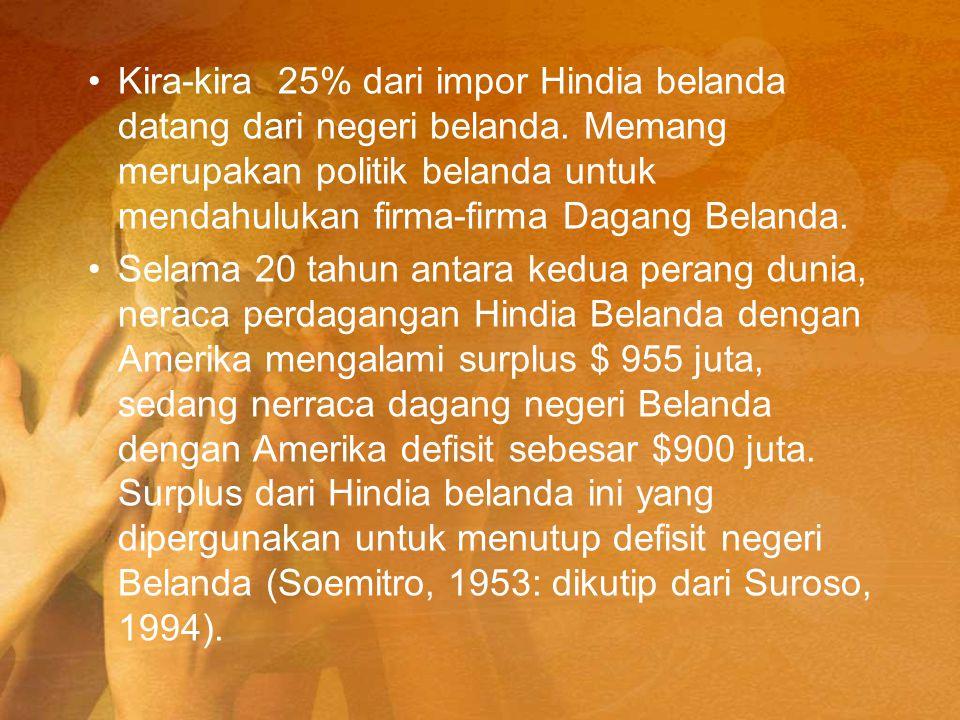 Kira-kira 25% dari impor Hindia belanda datang dari negeri belanda. Memang merupakan politik belanda untuk mendahulukan firma-firma Dagang Belanda. Se