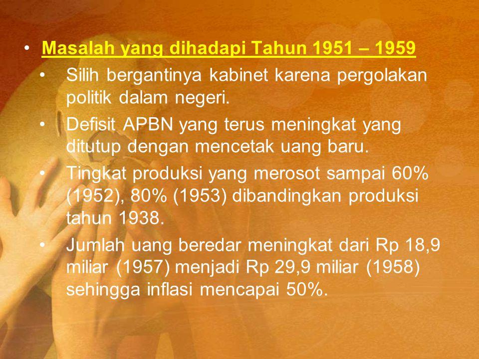 Masalah yang dihadapi Tahun 1951 – 1959 Silih bergantinya kabinet karena pergolakan politik dalam negeri. Defisit APBN yang terus meningkat yang ditut
