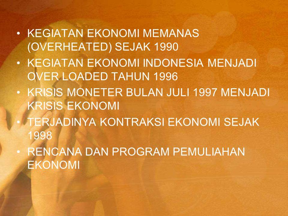 KEGIATAN EKONOMI MEMANAS (OVERHEATED) SEJAK 1990 KEGIATAN EKONOMI INDONESIA MENJADI OVER LOADED TAHUN 1996 KRISIS MONETER BULAN JULI 1997 MENJADI KRIS
