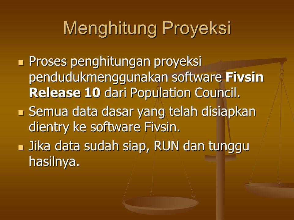 Menghitung Proyeksi Proses penghitungan proyeksi pendudukmenggunakan software Fivsin Release 10 dari Population Council. Proses penghitungan proyeksi