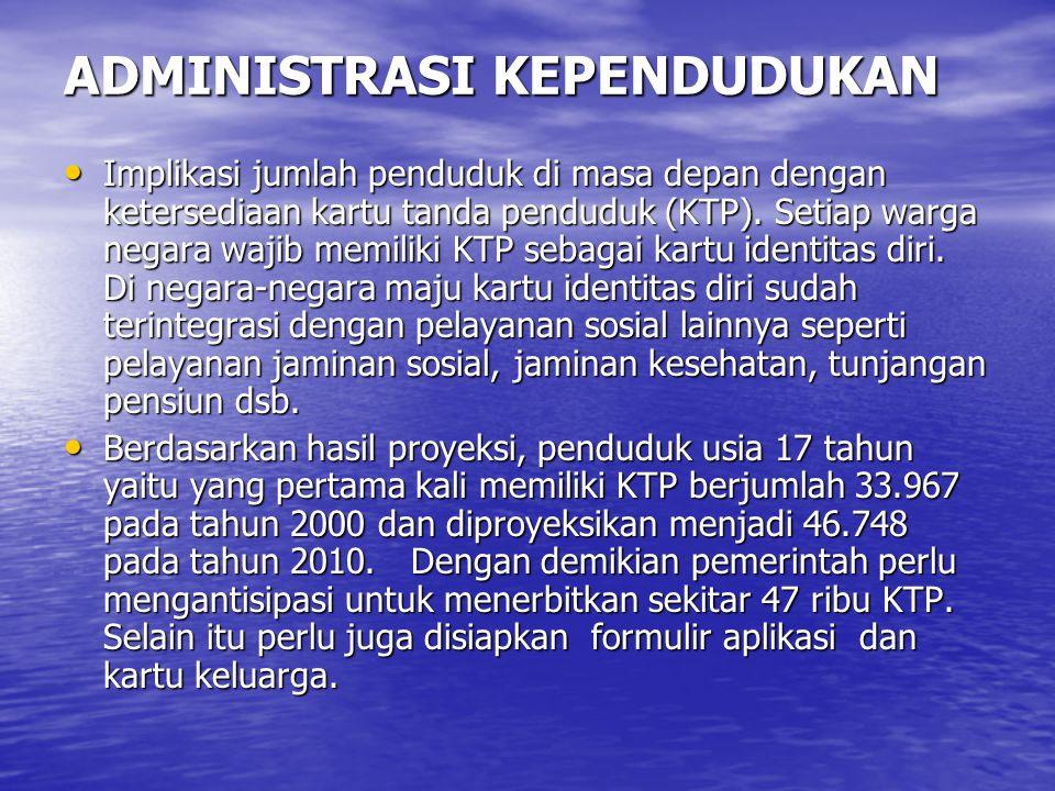 ADMINISTRASI KEPENDUDUKAN Implikasi jumlah penduduk di masa depan dengan ketersediaan kartu tanda penduduk (KTP). Setiap warga negara wajib memiliki K