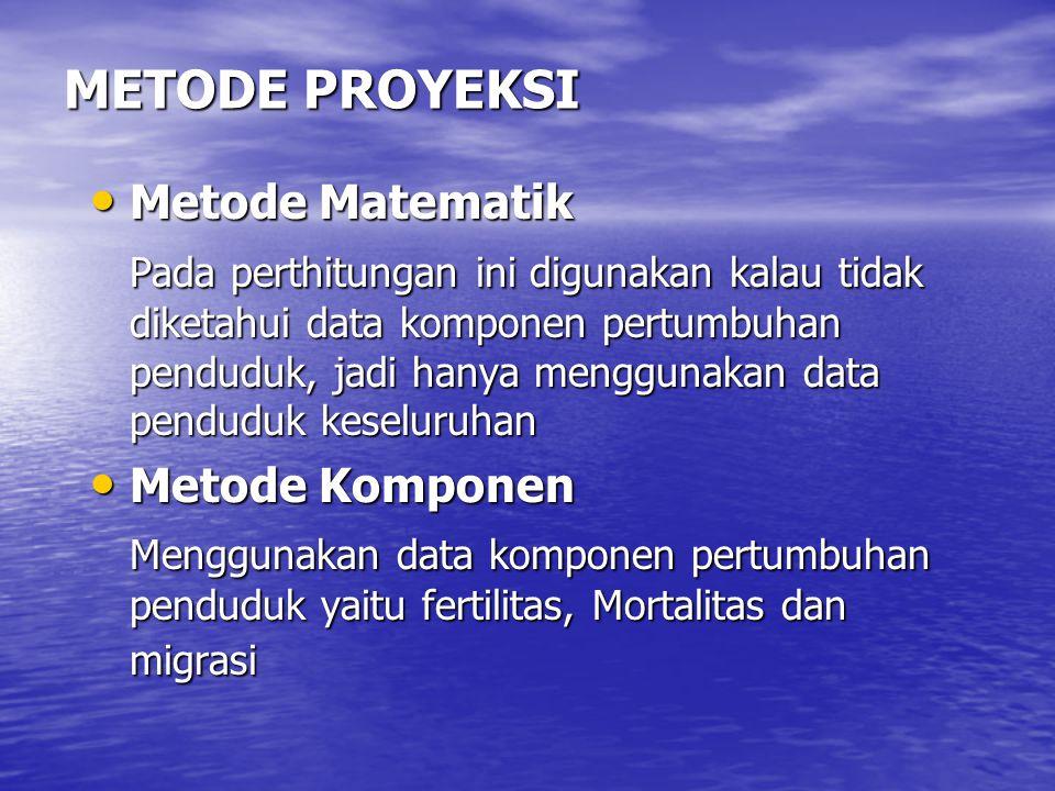 METODE PROYEKSI Metode Matematik Metode Matematik Pada perthitungan ini digunakan kalau tidak diketahui data komponen pertumbuhan penduduk, jadi hanya