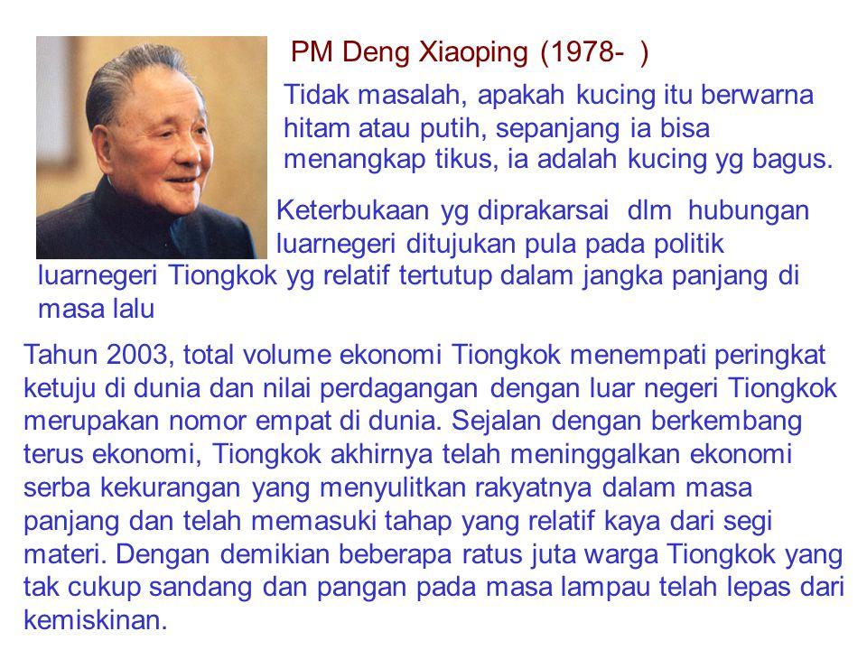 PM Deng Xiaoping (1978- ) Tidak masalah, apakah kucing itu berwarna hitam atau putih, sepanjang ia bisa menangkap tikus, ia adalah kucing yg bagus.