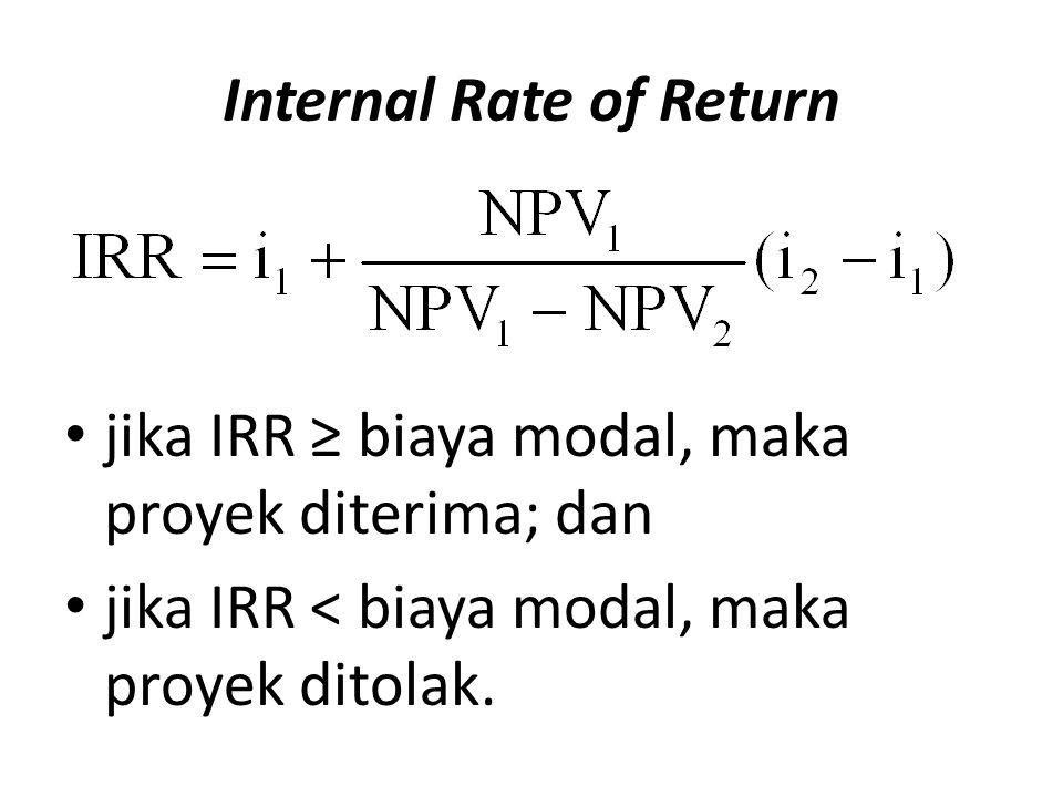 Internal Rate of Return jika IRR ≥ biaya modal, maka proyek diterima; dan jika IRR < biaya modal, maka proyek ditolak.