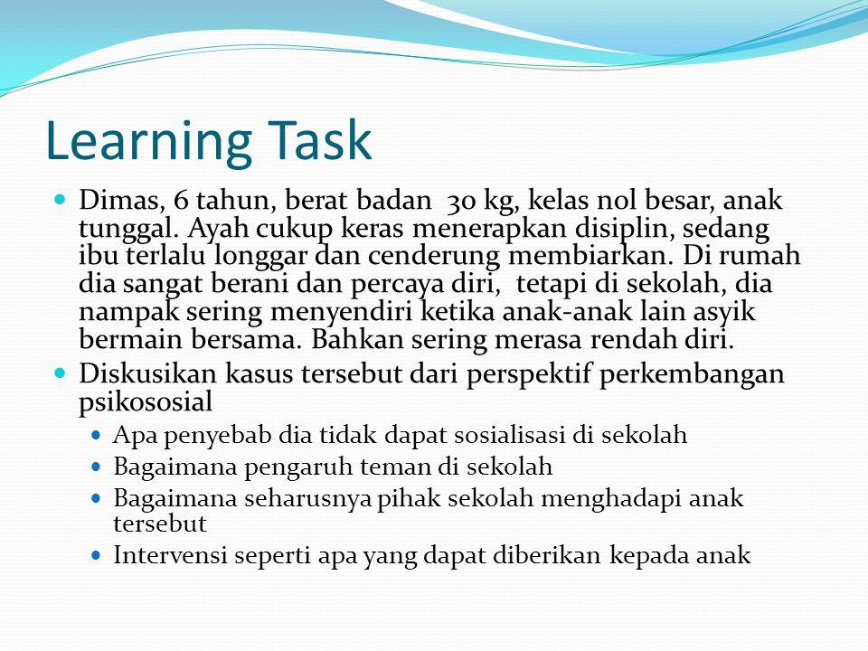 Learning Task Dimas, 6 tahun, berat badan 30 kg, kelas nol besar, anak tunggal. Ayah cukup keras menerapkan disiplin, sedang ibu terlalu longgar dan c