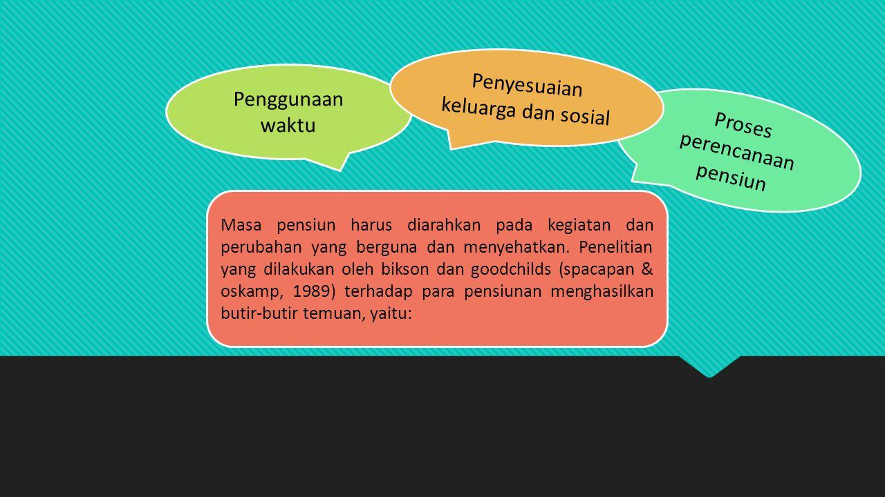 Masa pensiun harus diarahkan pada kegiatan dan perubahan yang berguna dan menyehatkan. Penelitian yang dilakukan oleh bikson dan goodchilds (spacapan
