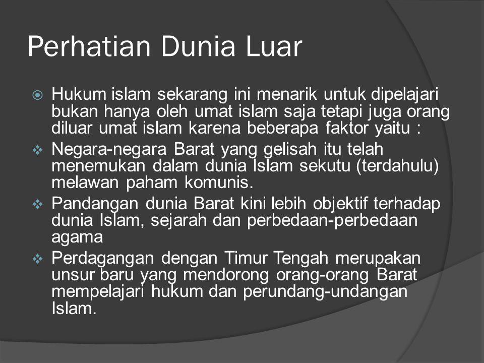 Perhatian Dunia Islam  adanya kecenderungan pada negeri- negeri berpenduduk muslim untuk kembali kepada Hukum Islam seperti yang terlihat di Timur Tengah dan di Asia Tenggara.