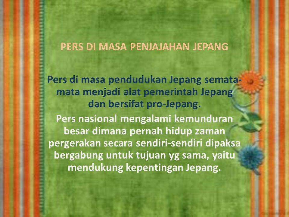 BEBERAPA CONTOH HARIAN YG TERBIT PADA MASA PERGERAKAN, ANTARA LAIN SBB: 1.Harian Sedio Tomo sebagai lanjutan harian Budi Utomo yg terbit di Yogjakarta bulan Juni 1920; 2.Harian Darmo Kondo, terbit di Solo dipimpin oleh Sudarya Cokrosisworo; 3.Harian Utusan Hindia, terbit di Surabaya dipimpin oleh HOS Cokroaminoto; 4.Harian Fadjar Asia, terbit di Jakarta dipimpin oleh Haji Agus Salim; 5.Majalah mingguan Pikiran Rakyat terbit di Bandung didirikan oleh Ir Soekarno; 6.Majalah berkala Daulah Rakyat, dipimpin oleh M.