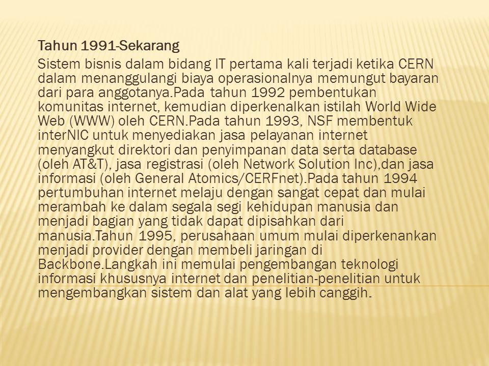 Tahun 1991-Sekarang Sistem bisnis dalam bidang IT pertama kali terjadi ketika CERN dalam menanggulangi biaya operasionalnya memungut bayaran dari para