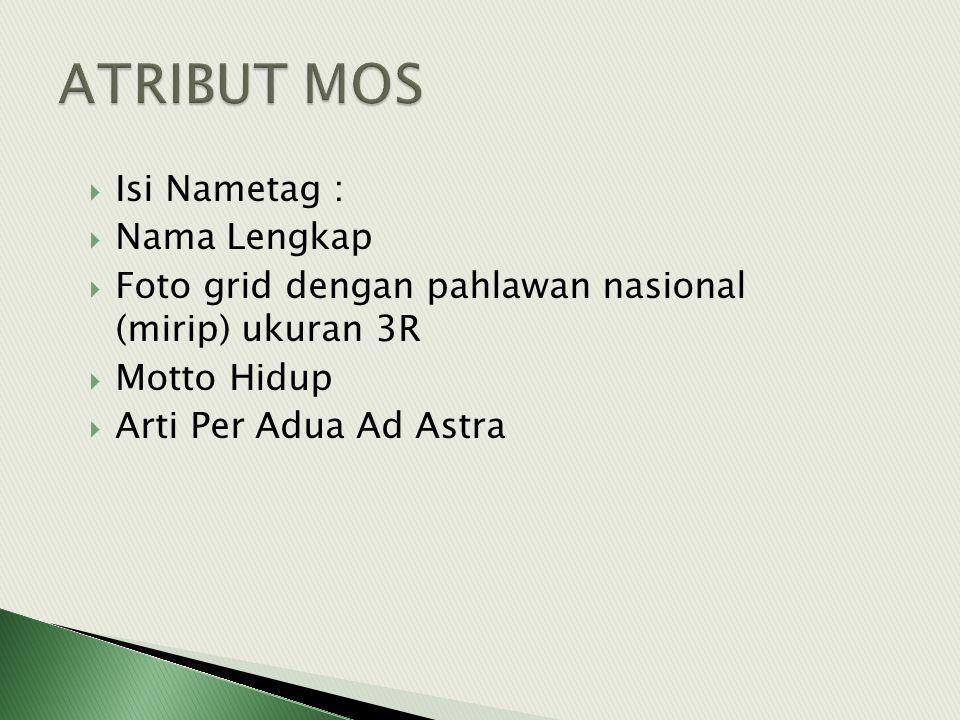  Isi Nametag :  Nama Lengkap  Foto grid dengan pahlawan nasional (mirip) ukuran 3R  Motto Hidup  Arti Per Adua Ad Astra