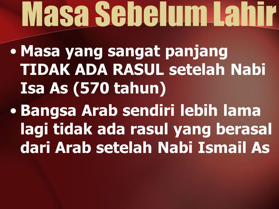 Dari Lahir Hingga Menjadi Rasul 0 – 4 th: Bersama Halimah as-Sa'diyah 4 – 6 th: Bersama ibunya, Siti Aminah 6 – 8 th: Bersama kakeknya 8 – 25 th: Bersama pamannya –Menjadi penggembala kambing 17 th: Ikut Perjanjian Hilful Fudhul 25 th: Menikah 35 th: Mendapat gelar Al-Amin 40 th: Diangkat menjadi Rasul