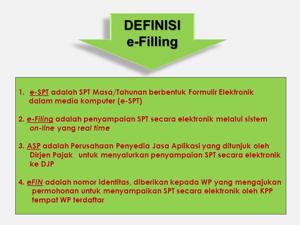 DEFINISIe-FillingDEFINISIe-Filling 1.e-SPT adalah SPT Masa/Tahunan berbentuk Formulir Elektronik dalam media komputer (e-SPT) 2. e-Filing adalah penya