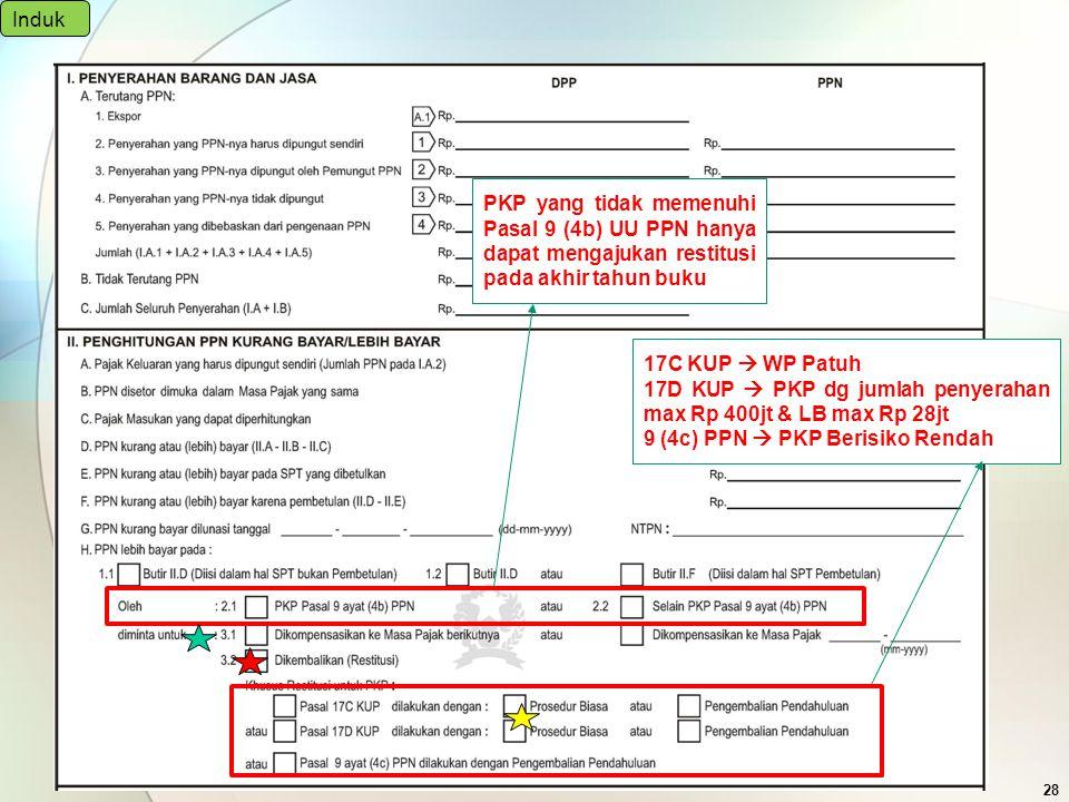 28 Induk PKP yang tidak memenuhi Pasal 9 (4b) UU PPN hanya dapat mengajukan restitusi pada akhir tahun buku 17C KUP  WP Patuh 17D KUP  PKP dg jumlah