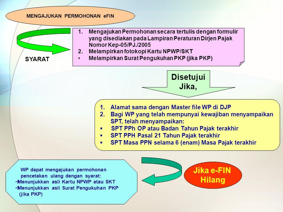 Jika e-FIN Hilang 1.Mengajukan Permohonan secara tertulis dengan formulir yang disediakan pada Lampiran Peraturan Dirjen Pajak Nomor Kep-05/PJ./2005 2