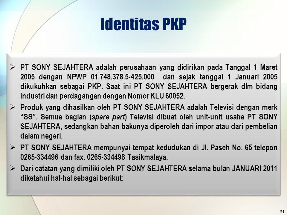 Identitas PKP  PT SONY SEJAHTERA adalah perusahaan yang didirikan pada Tanggal 1 Maret 2005 dengan NPWP 01.748.378.5-425.000 dan sejak tanggal 1 Janu