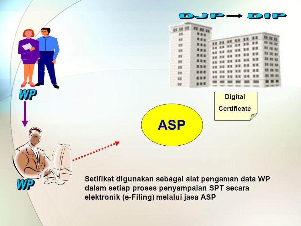 Digital Certificate Setifikat digunakan sebagai alat pengaman data WP dalam setiap proses penyampaian SPT secara elektronik (e-Filing) melalui jasa AS