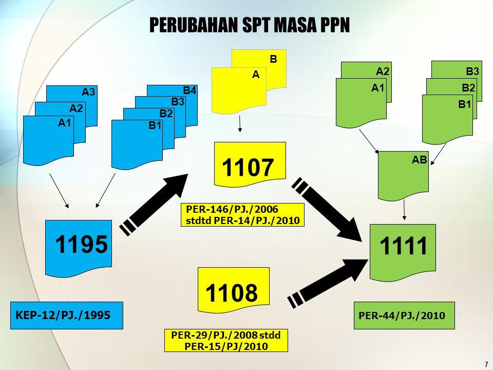 A1 A2 A3 B3 B4 B2 B1 1195 KEP-12/PJ./1995 B A 1107 PER-146/PJ./2006 stdtd PER-14/PJ./2010 PERUBAHAN SPT MASA PPN 7 1111 PER-44/PJ./2010 AB A1 A2B3 B1