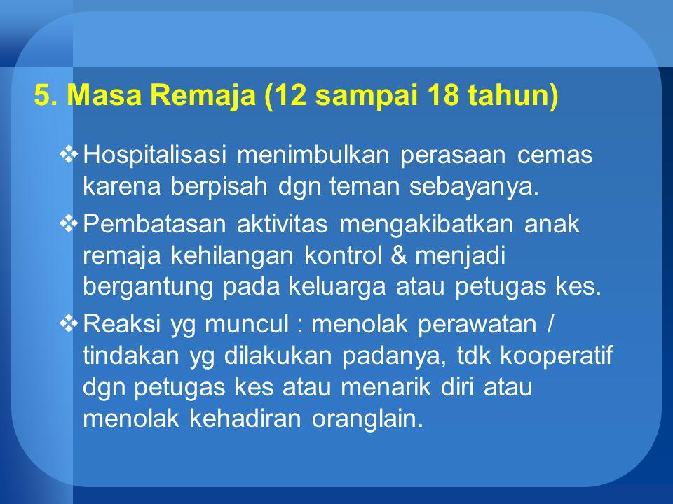 5. Masa Remaja (12 sampai 18 tahun)  Hospitalisasi menimbulkan perasaan cemas karena berpisah dgn teman sebayanya.  Pembatasan aktivitas mengakibatk