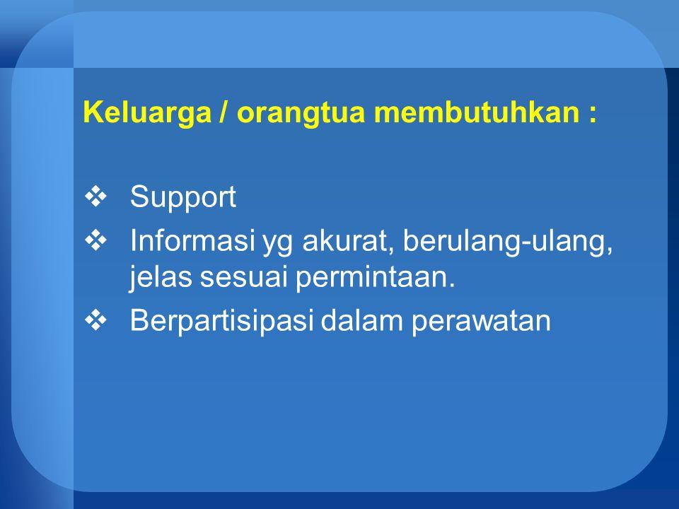 Keluarga / orangtua membutuhkan :  Support  Informasi yg akurat, berulang-ulang, jelas sesuai permintaan.  Berpartisipasi dalam perawatan