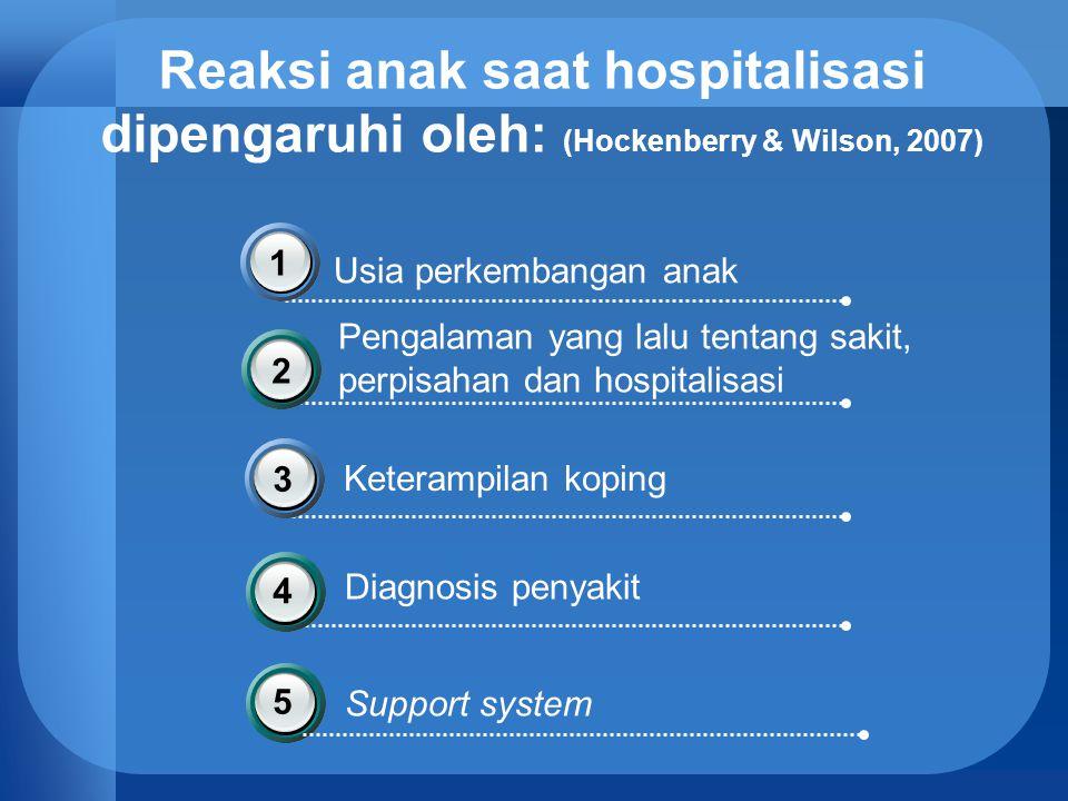 Reaksi anak saat hospitalisasi dipengaruhi oleh: (Hockenberry & Wilson, 2007) Usia perkembangan anak 1 Pengalaman yang lalu tentang sakit, perpisahan