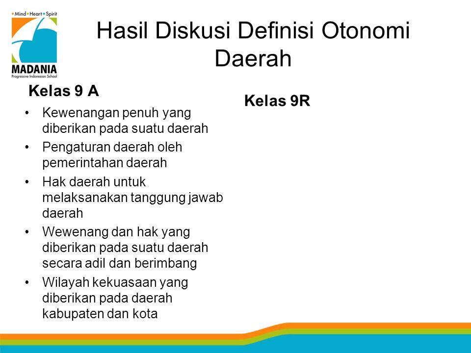 Hasil Diskusi Definisi Otonomi Daerah Kelas 9 A Kewenangan penuh yang diberikan pada suatu daerah Pengaturan daerah oleh pemerintahan daerah Hak daera