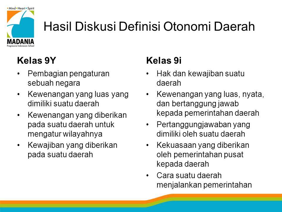 Hasil Diskusi Definisi Otonomi Daerah Kelas 9Y Pembagian pengaturan sebuah negara Kewenangan yang luas yang dimiliki suatu daerah Kewenangan yang dibe