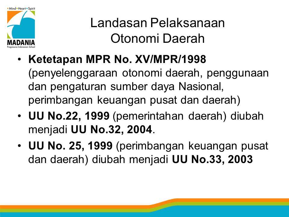 Landasan Pelaksanaan Otonomi Daerah Ketetapan MPR No. XV/MPR/1998 (penyelenggaraan otonomi daerah, penggunaan dan pengaturan sumber daya Nasional, per