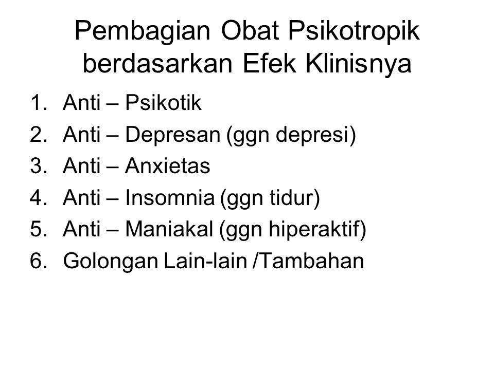 Pembagian Obat Psikotropik berdasarkan Efek Klinisnya 1.Anti – Psikotik 2.Anti – Depresan (ggn depresi) 3.Anti – Anxietas 4.Anti – Insomnia (ggn tidur