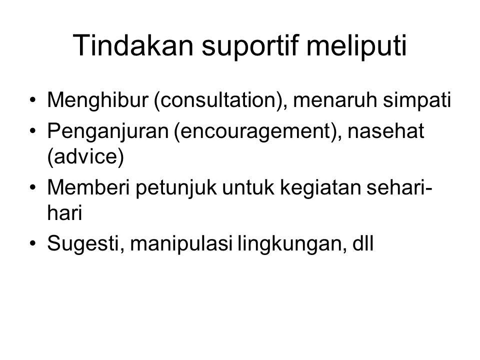 Tindakan suportif meliputi Menghibur (consultation), menaruh simpati Penganjuran (encouragement), nasehat (advice) Memberi petunjuk untuk kegiatan seh