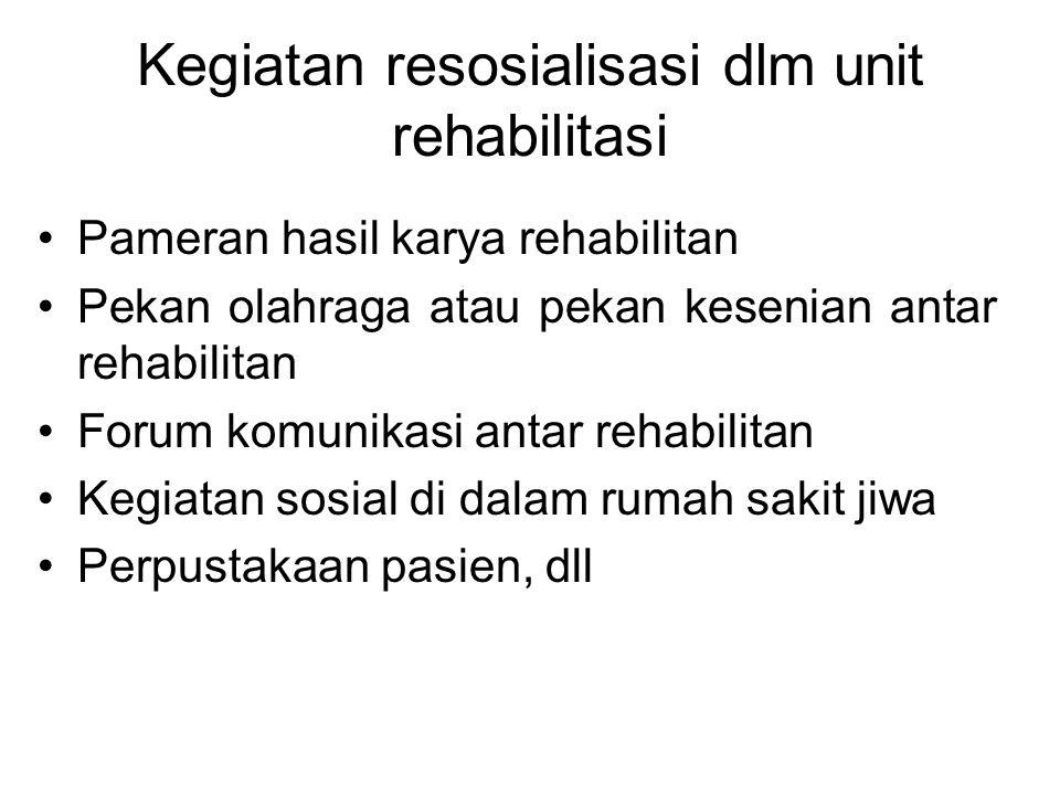 Kegiatan resosialisasi dlm unit rehabilitasi Pameran hasil karya rehabilitan Pekan olahraga atau pekan kesenian antar rehabilitan Forum komunikasi ant