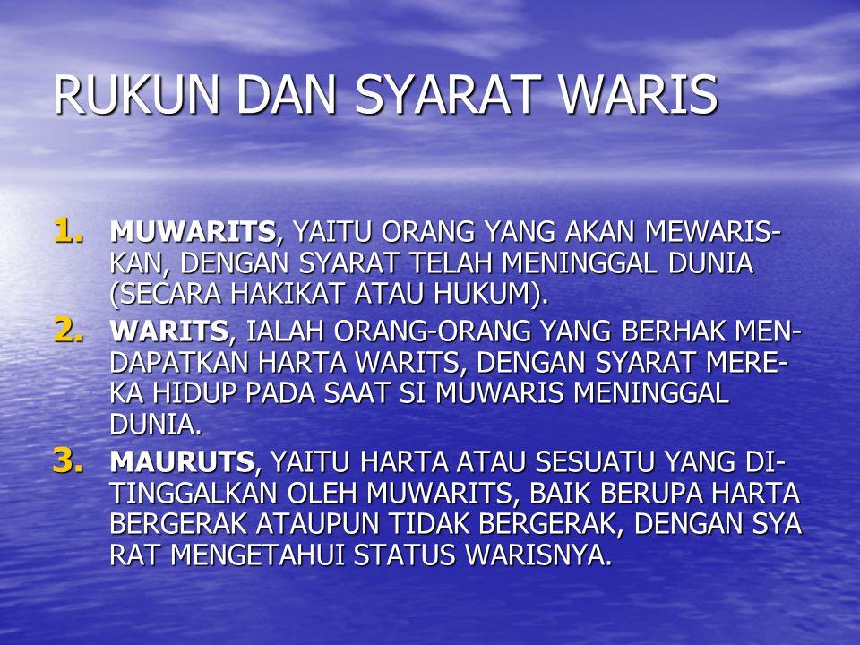 RUKUN DAN SYARAT WARIS 1. MUWARITS, YAITU ORANG YANG AKAN MEWARIS- KAN, DENGAN SYARAT TELAH MENINGGAL DUNIA (SECARA HAKIKAT ATAU HUKUM). 2. WARITS, IA