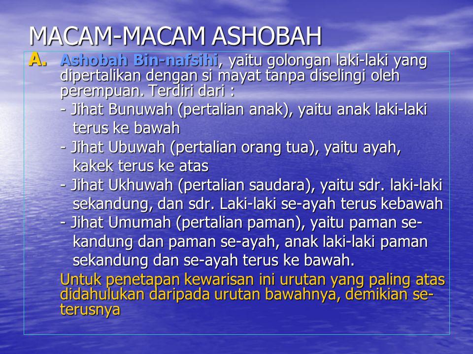MACAM-MACAM ASHOBAH A. Ashobah Bin-nafsihi, yaitu golongan laki-laki yang dipertalikan dengan si mayat tanpa diselingi oleh perempuan. Terdiri dari :