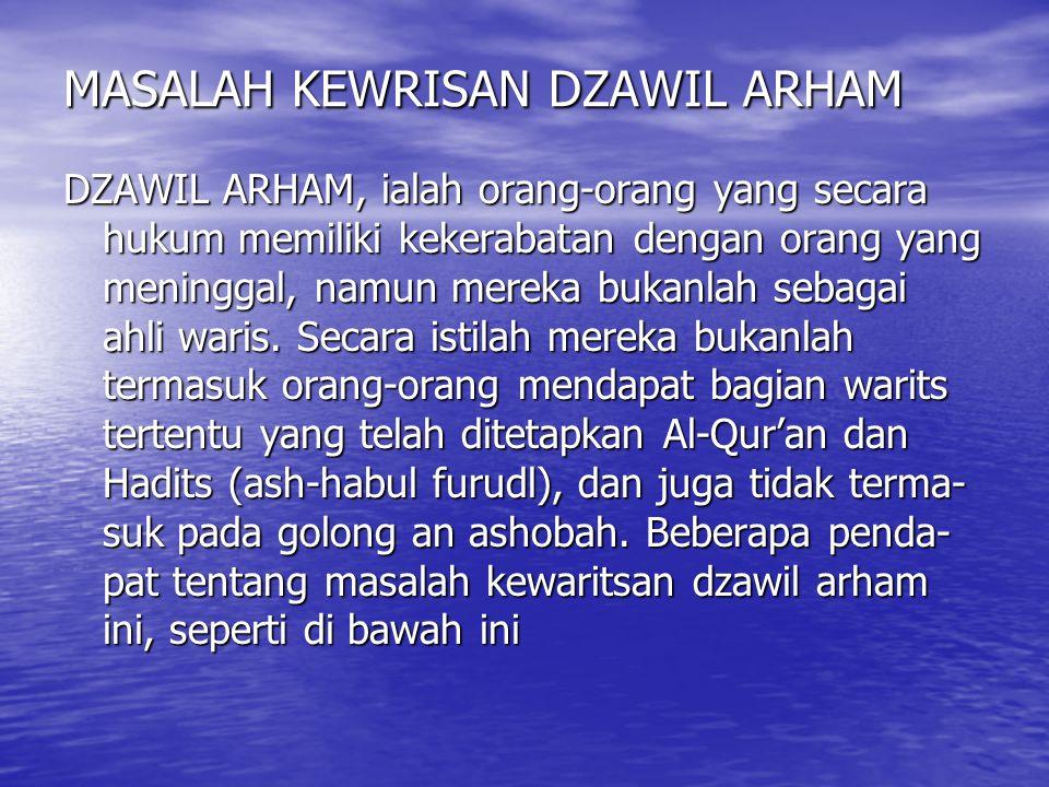 MASALAH KEWRISAN DZAWIL ARHAM DZAWIL ARHAM, ialah orang-orang yang secara hukum memiliki kekerabatan dengan orang yang meninggal, namun mereka bukanla