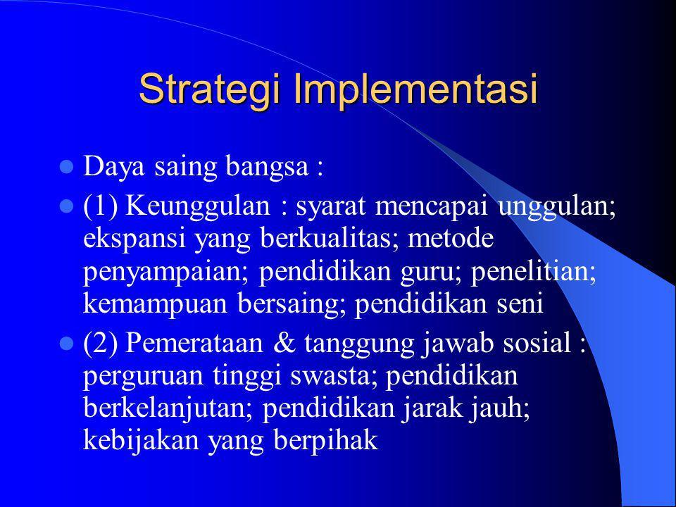 Strategi Implementasi Daya saing bangsa : (1) Keunggulan : syarat mencapai unggulan; ekspansi yang berkualitas; metode penyampaian; pendidikan guru; penelitian; kemampuan bersaing; pendidikan seni (2) Pemerataan & tanggung jawab sosial : perguruan tinggi swasta; pendidikan berkelanjutan; pendidikan jarak jauh; kebijakan yang berpihak