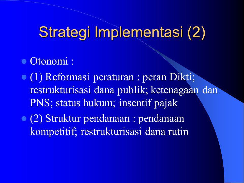 Strategi Implementasi (2) Otonomi : (1) Reformasi peraturan : peran Dikti; restrukturisasi dana publik; ketenagaan dan PNS; status hukum; insentif pajak (2) Struktur pendanaan : pendanaan kompetitif; restrukturisasi dana rutin