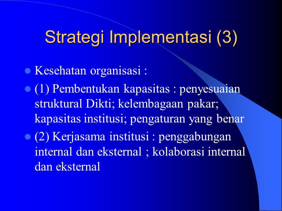 Strategi Implementasi (3) Kesehatan organisasi : (1) Pembentukan kapasitas : penyesuaian struktural Dikti; kelembagaan pakar; kapasitas institusi; pengaturan yang benar (2) Kerjasama institusi : penggabungan internal dan eksternal ; kolaborasi internal dan eksternal