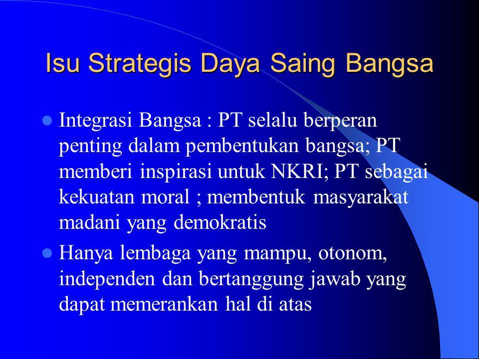 Isu Strategis Daya Saing Bangsa Integrasi Bangsa : PT selalu berperan penting dalam pembentukan bangsa; PT memberi inspirasi untuk NKRI; PT sebagai kekuatan moral ; membentuk masyarakat madani yang demokratis Hanya lembaga yang mampu, otonom, independen dan bertanggung jawab yang dapat memerankan hal di atas