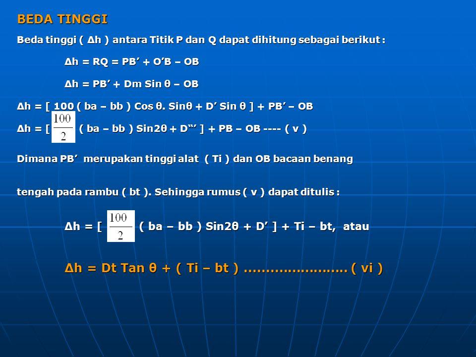 BEDA TINGGI Beda tinggi ( Δh ) antara Titik P dan Q dapat dihitung sebagai berikut : Δh = RQ = PB' + O'B – OB Δh = PB' + Dm Sin θ – OB Δh = [ 100 ( ba