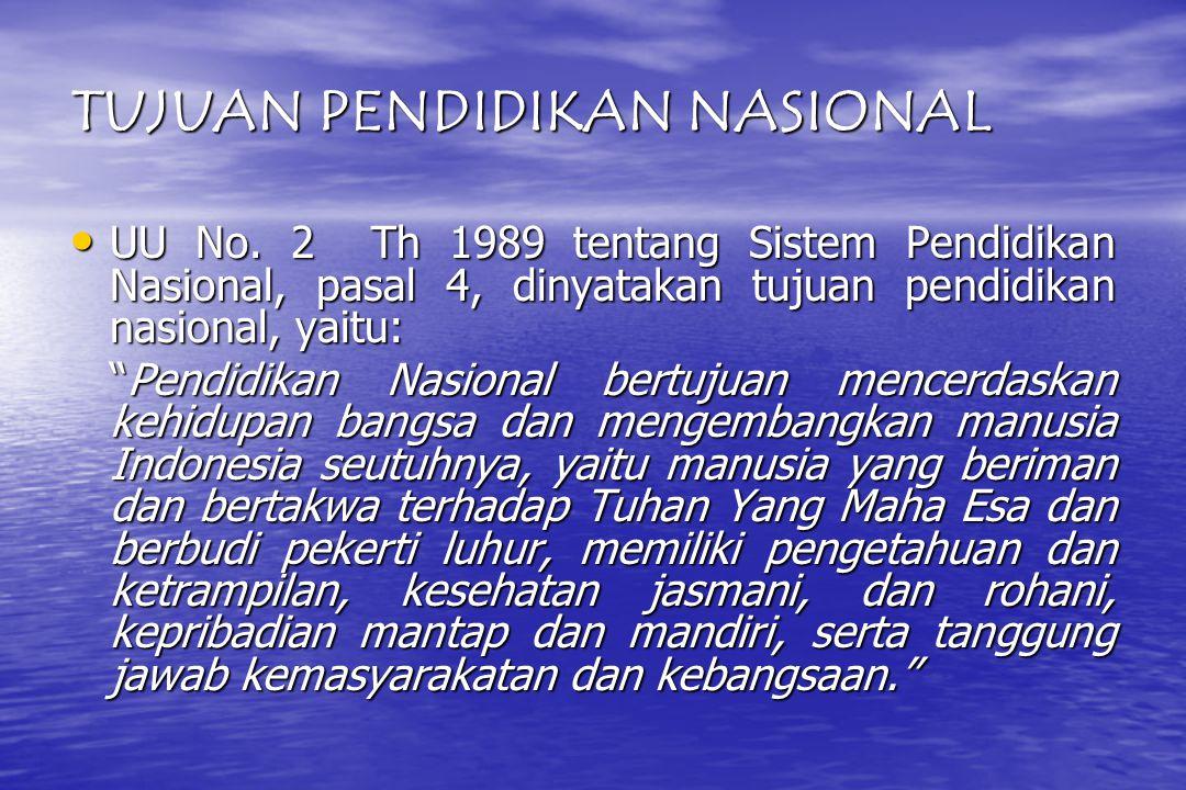 TUJUAN PENDIDIKAN NASIONAL UU No.