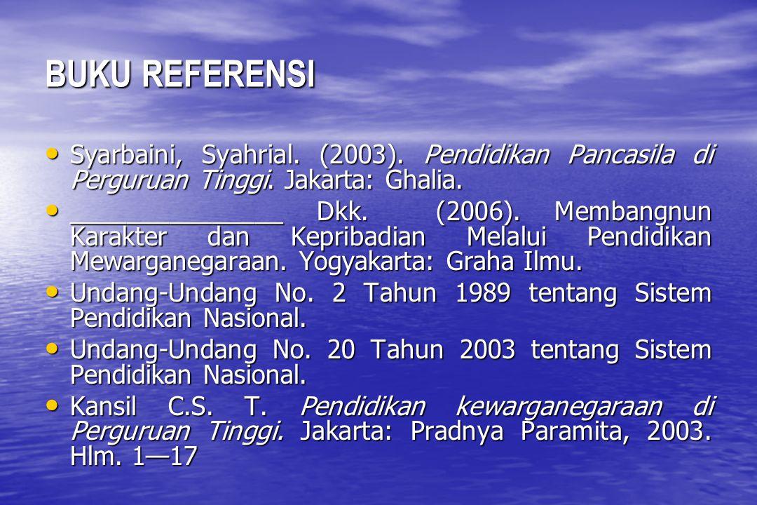 BUKU REFERENSI Syarbaini, Syahrial.(2003). Pendidikan Pancasila di Perguruan Tinggi.