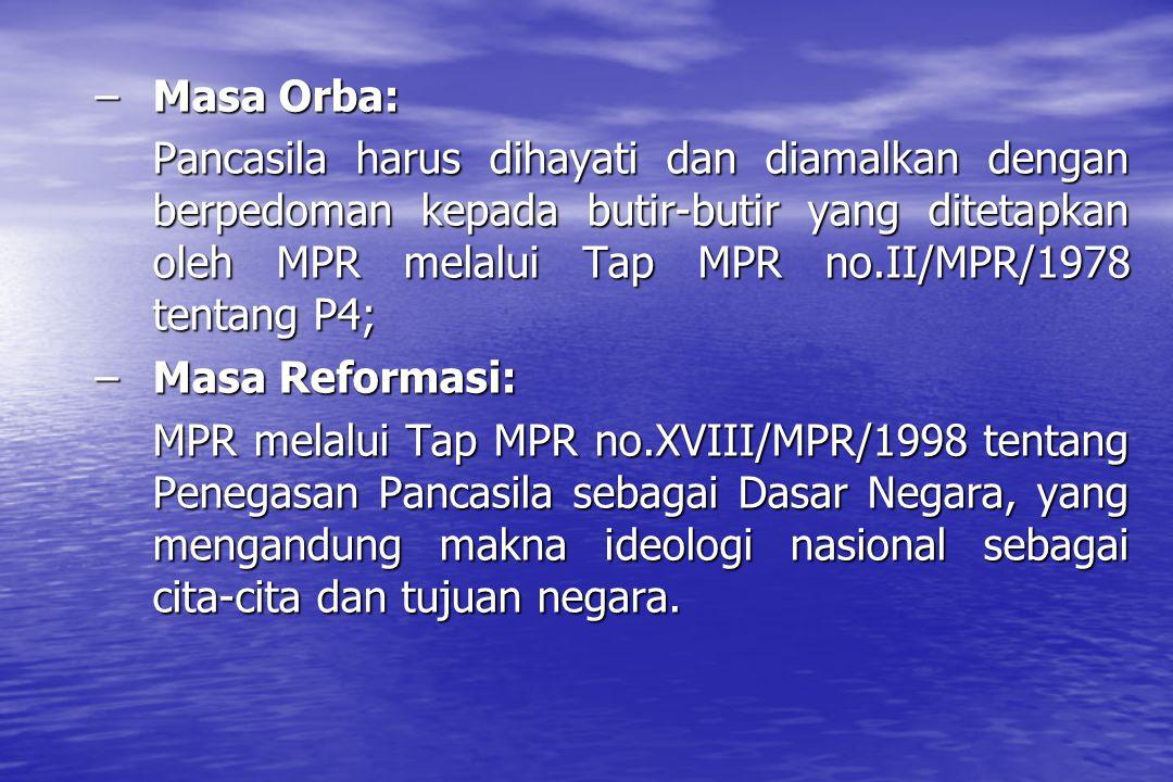 LANDASAN KULTURAL Pancasila sebagai kepribadian dan jati diri bangsa Indonesia merupakan pencerminan nilai-nilai yang tumbuh dalam kehidupan bangsa Indonesia.