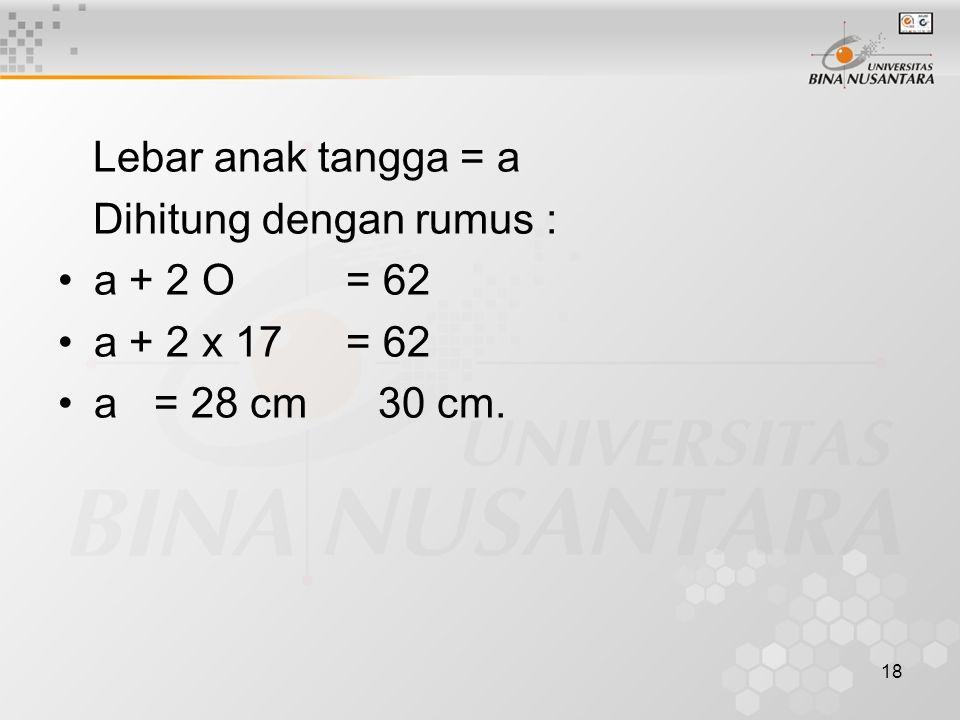 18 Lebar anak tangga = a Dihitung dengan rumus : a + 2 O= 62 a + 2 x 17 = 62 a= 28 cm 30 cm.