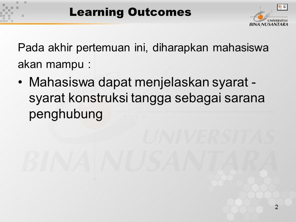 2 Learning Outcomes Pada akhir pertemuan ini, diharapkan mahasiswa akan mampu : Mahasiswa dapat menjelaskan syarat - syarat konstruksi tangga sebagai