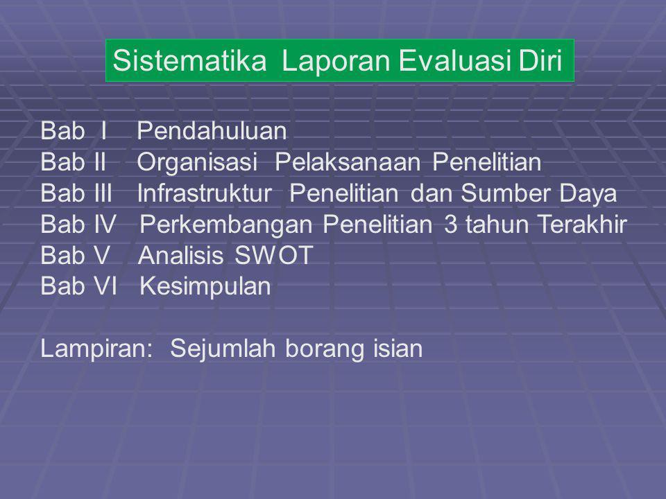 Sistematika Laporan Evaluasi Diri Bab I Pendahuluan Bab II Organisasi Pelaksanaan Penelitian Bab III Infrastruktur Penelitian dan Sumber Daya Bab IV P