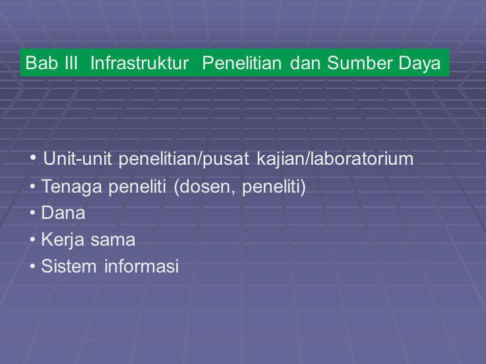 Bab III Infrastruktur Penelitian dan Sumber Daya Unit-unit penelitian/pusat kajian/laboratorium Tenaga peneliti (dosen, peneliti) Dana Kerja sama Sist