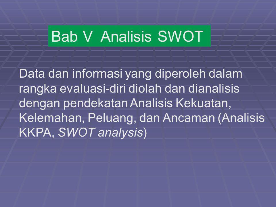 Bab V Analisis SWOT Data dan informasi yang diperoleh dalam rangka evaluasi-diri diolah dan dianalisis dengan pendekatan Analisis Kekuatan, Kelemahan,