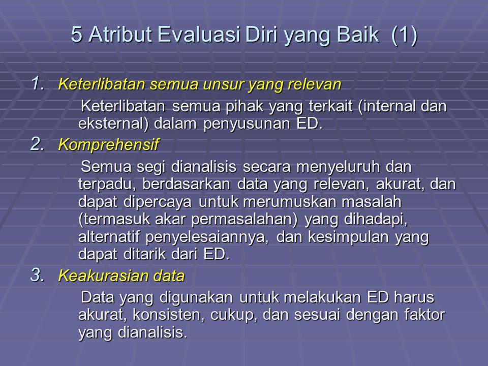 5 Atribut Evaluasi Diri yang Baik (1) 1. Keterlibatan semua unsur yang relevan Keterlibatan semua pihak yang terkait (internal dan eksternal) dalam pe