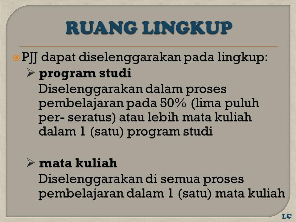  PJJ dapat diselenggarakan pada lingkup:  program studi Diselenggarakan dalam proses pembelajaran pada 50% (lima puluh per- seratus) atau lebih mata kuliah dalam 1 (satu) program studi  mata kuliah Diselenggarakan di semua proses pembelajaran dalam 1 (satu) mata kuliah LC