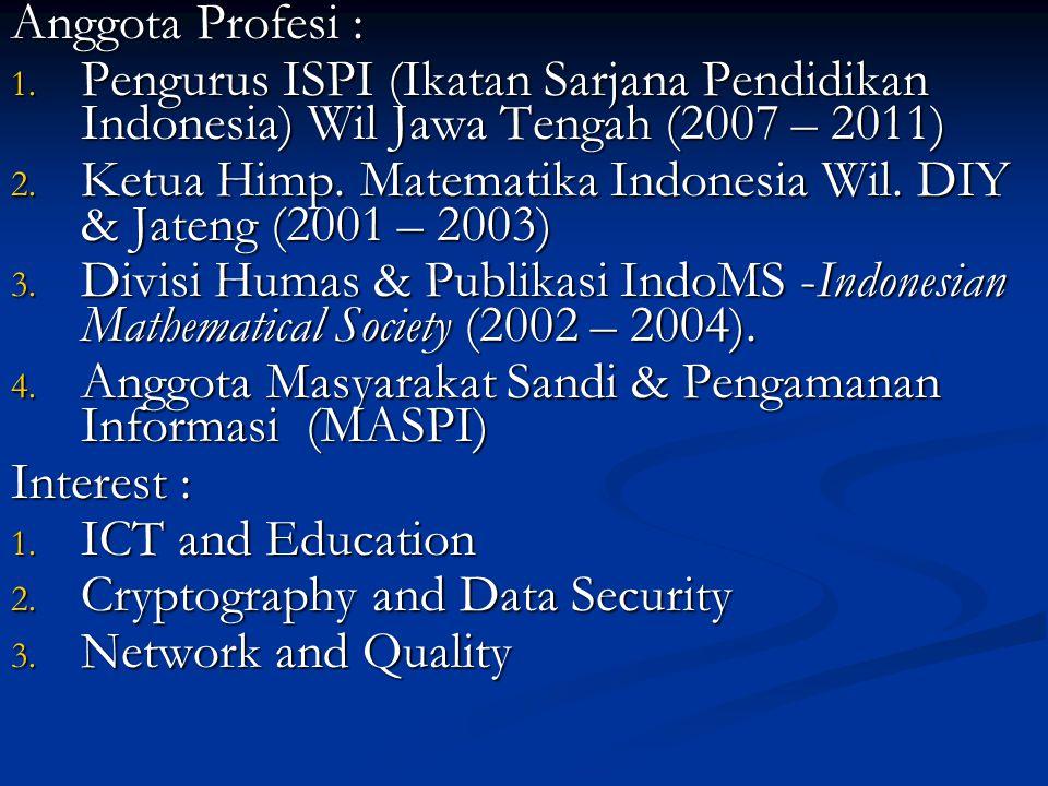 Anggota Profesi : 1. Pengurus ISPI (Ikatan Sarjana Pendidikan Indonesia) Wil Jawa Tengah (2007 – 2011) 2. Ketua Himp. Matematika Indonesia Wil. DIY &