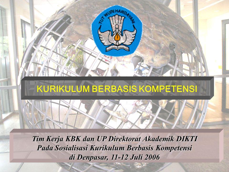 KURIKULUM BERBASIS KOMPETENSI Tim Kerja KBK dan UP Direktorat Akademik DIKTI Pada Sosialisasi Kurikulum Berbasis Kompetensi di Denpasar, 11-12 Juli 20